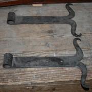Pr wrought iron hinges