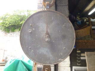Copper fronted weighing scales