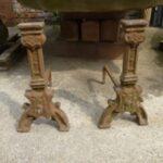 Tudor style victorian cast iron dogs