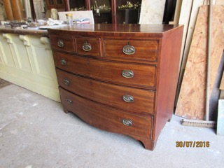 Mahogany Georgian Bow Fronted Chest of Draws