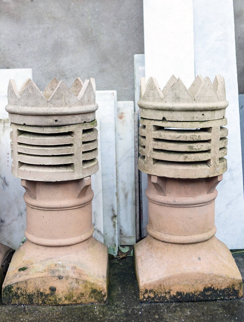 Pair Buff Terracotta Crown Chimney Pots