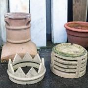 Pair Buff Terracotta Crown Chimney Pots