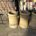 Set of six buff chimney pots. Each one cost