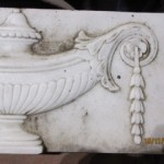 White statuary marble fireplace plaque
