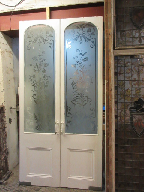 Beautiful set of etched glass mahogany french doors circa 1880 100.5 x  49.75 x 1.75 inches thick - Etched Glass Mahogany French DoorsOlliffs » Olliffs