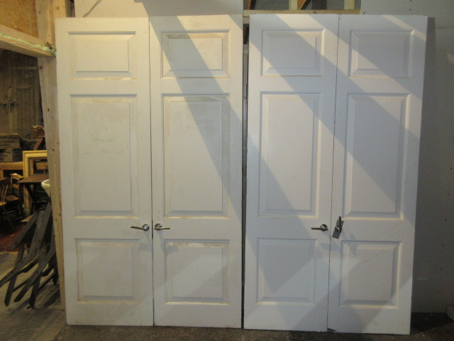 Pair of Painted Mahogany Fielded Panel Doors