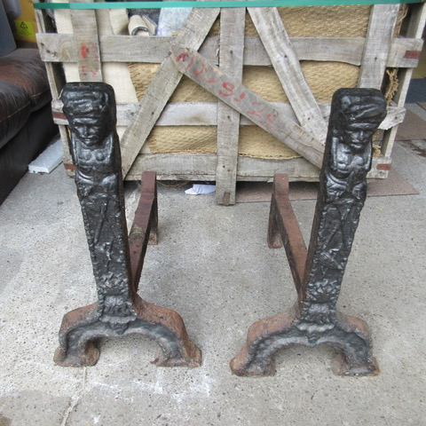 Pair of Period Cast Iron Dog Irons