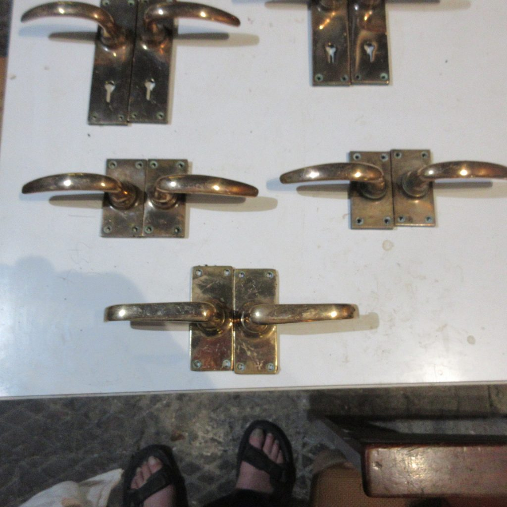 3 pairs brass lever handles