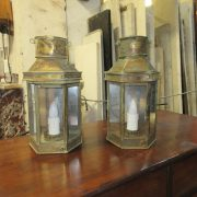 Pair of period brass wall lanterns